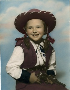 Image of blogger's mother, Judy, as a little girl in cowgirl attire