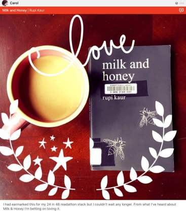 rupi kaur milk and honey by carol on litsy