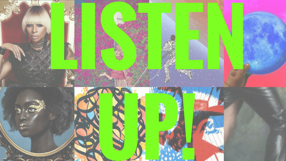 "Collage of album covers with ""listen up"" written over them"