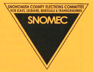 "Black triangle logo with SNOMEC written inside using negative space. Yellow background. Text above the black triangle reads ""Snohomish County Elections Committee for gays, lesbians, & transgendered."""