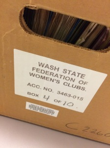 "A brown document box with a label that reads ""Wash State Federation of Women's Clubs - Acc. No. 3436-015 - box 4 of 10."""