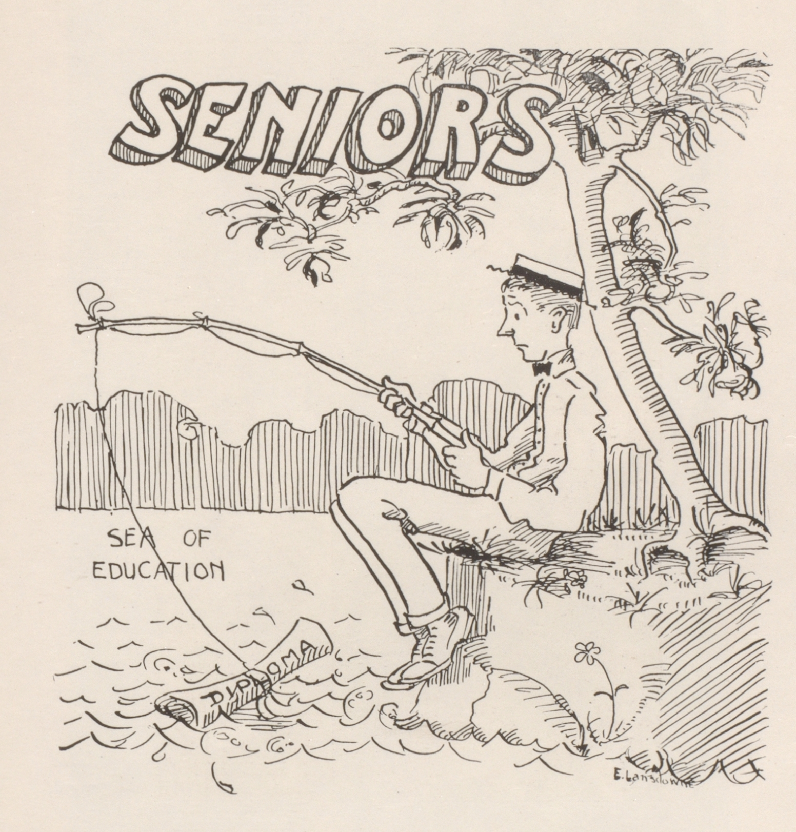 "Cartoon of a man sitting on a riverbank, fishing. The word ""seniors"" is written above him."