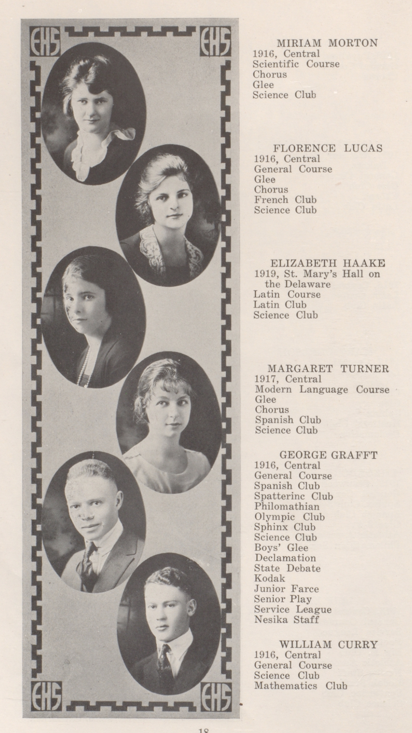 Yearbook page showing student portraits and information about their activities