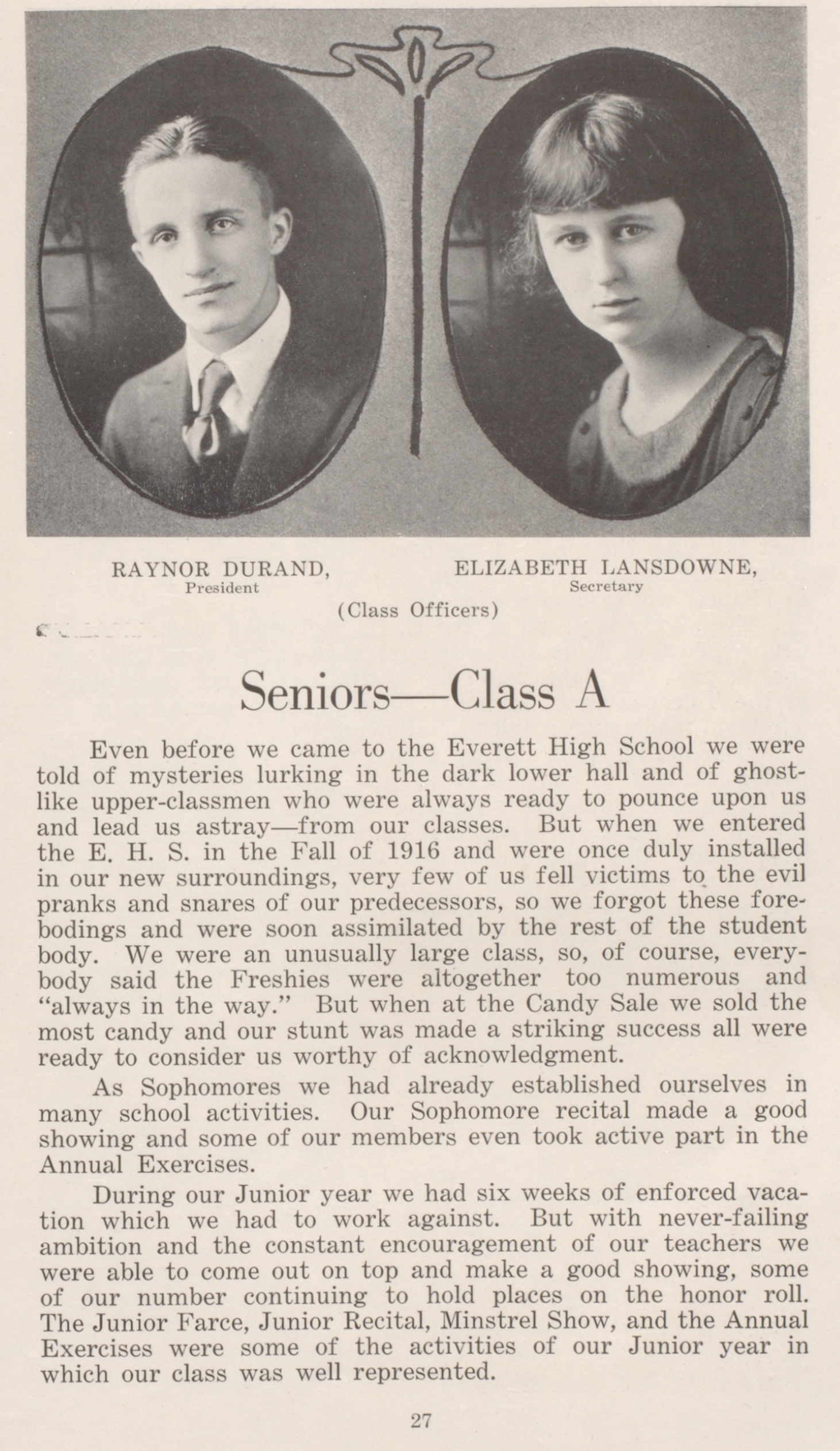 Senior Class A's Statement - a full page of text with two portraits on the top - one boy and one girl.
