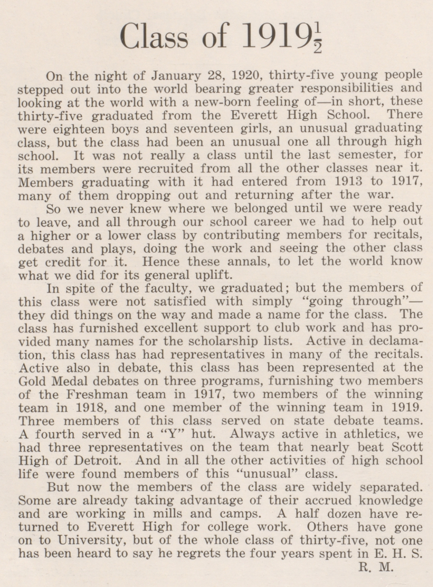 Class of 1919 1/2 statement