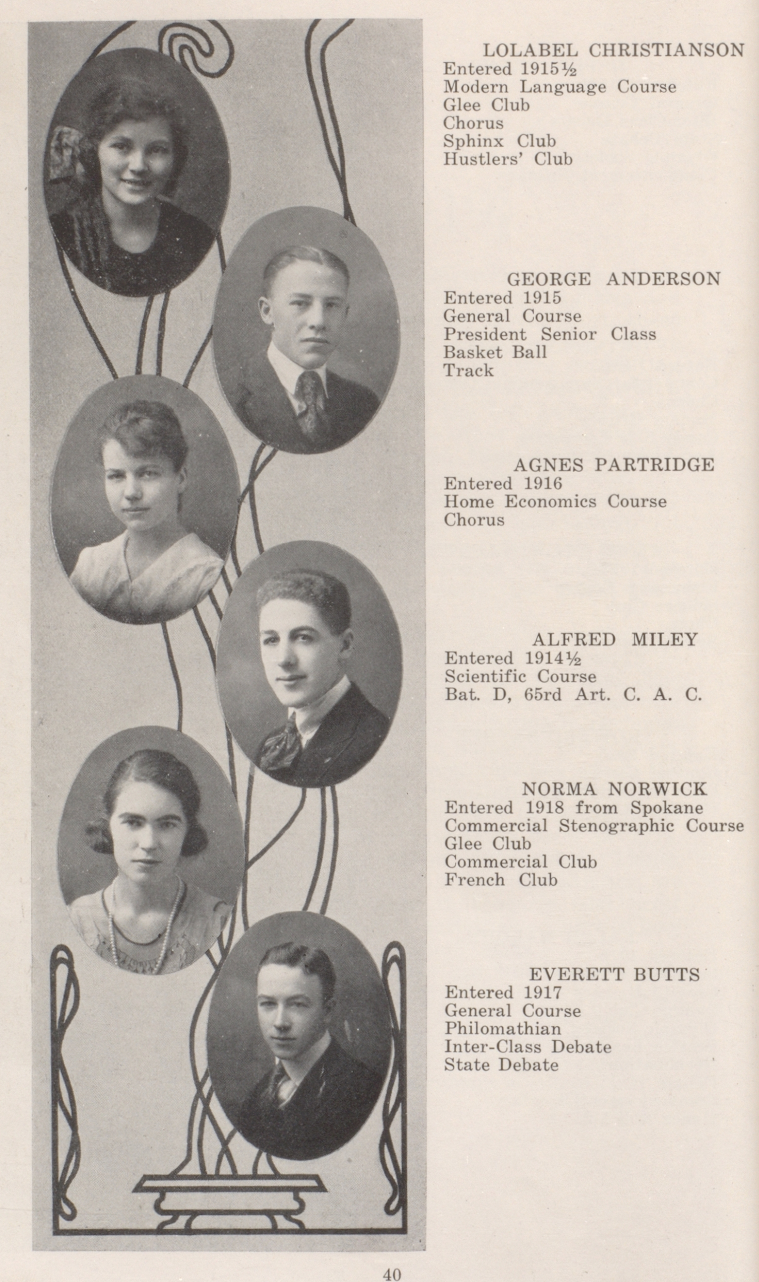 Yearbook page with student portraits and activities